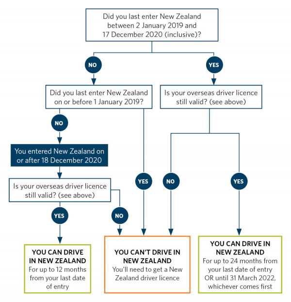 Flowchart showing whether you can drive in New Zealand