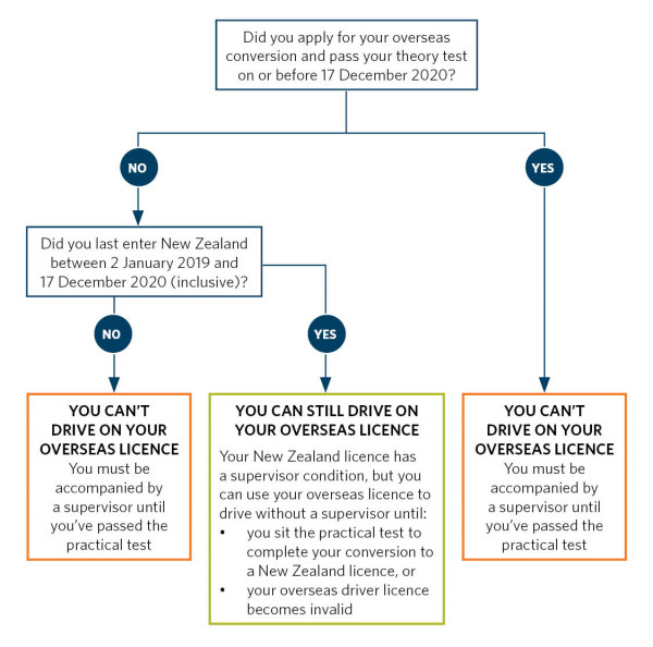 Flowchart showing whether you can drive on an overseas licence while converting to a New Zealand licence