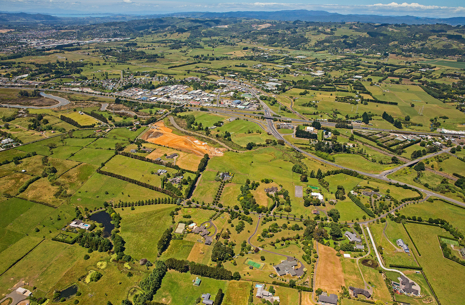 Aerial view of Mill Road between Manukau and Drury South